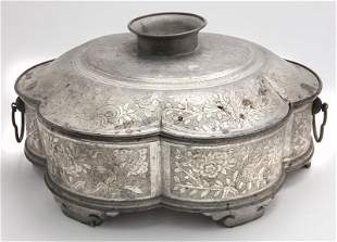 Chinese Qing chao chow pewter box,