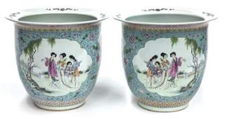 Pr. Chinese famille rose planters,