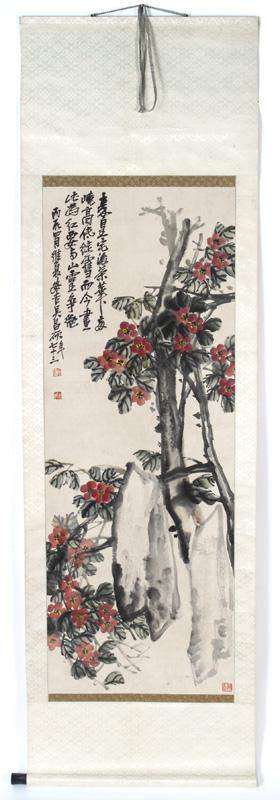 Chinese watercolor painted scroll,