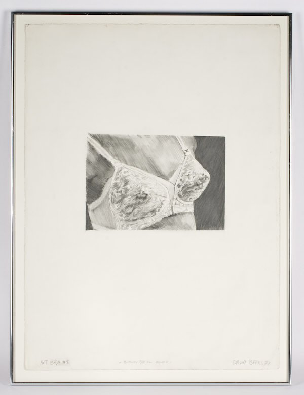 """3: David Bates pencil on paper, titled, """"Art Bra #4 -Bi"""