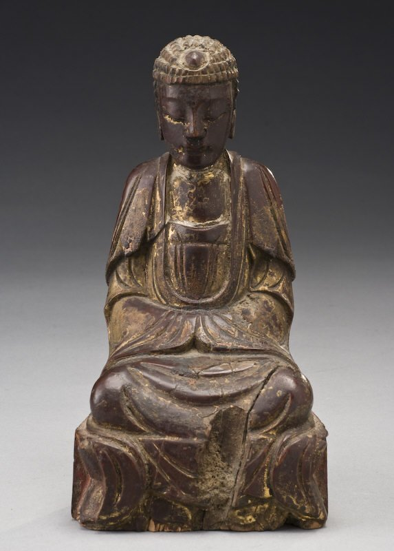 4: Chinese Ming dynasty carved wood Buddha with gilt la