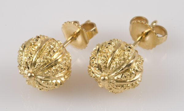 """7: Tiffany Schlumberger 18K gold earrings, stamped, """"T"""
