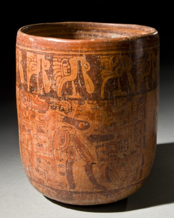9: Pre-Columbian Mayan cylinder vase with primary glyph