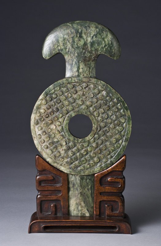 10: Chinese Ming carved spinach jade Bi disk, carved wi