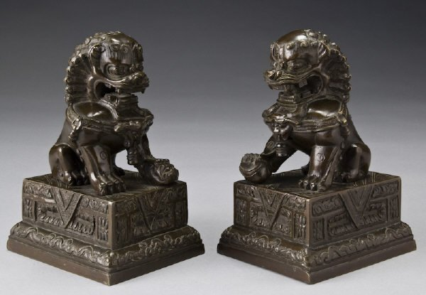 "13: Pr. Chinese Qing bronze foo-lions. 6.75""H, Circa -"