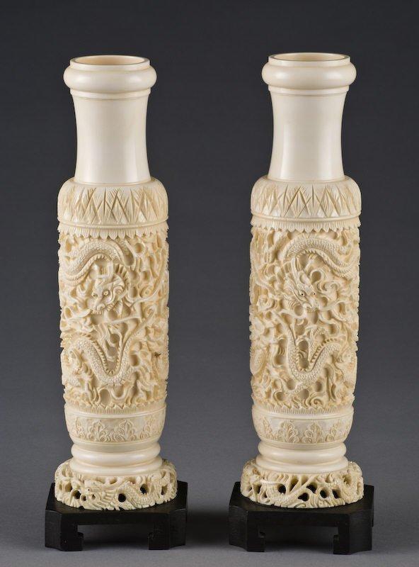 16: Pr. Chinese carved ivory vases depicting (Internati