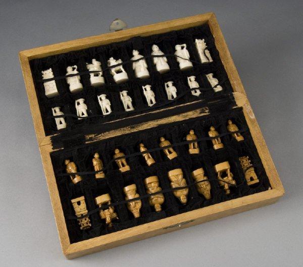 21: Japanese carved ivory chess set. (International shi