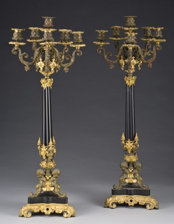 22: Pr. French six light gilt and patinated bronze cand