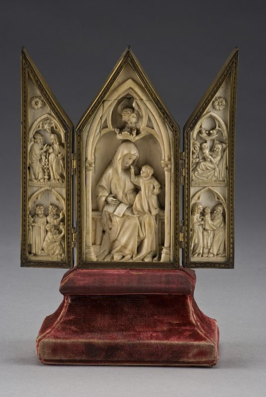 132: French Gothic carved ivory triptych, housed in a b