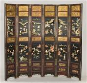 162: Chinese carved six panel lacquered screen with jad