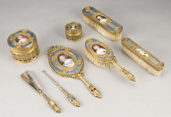 1: 8 Pc. French gilt bronze guilloche enamel dresser