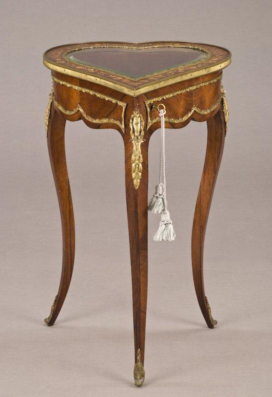 4: Louis XV style heart shaped vitrine table,