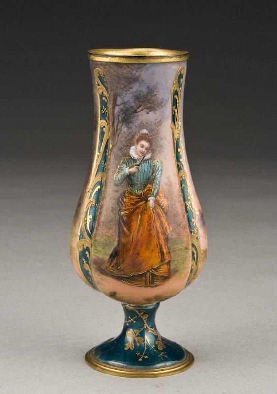 6: Miniature Limoges enamel vase with a portrait