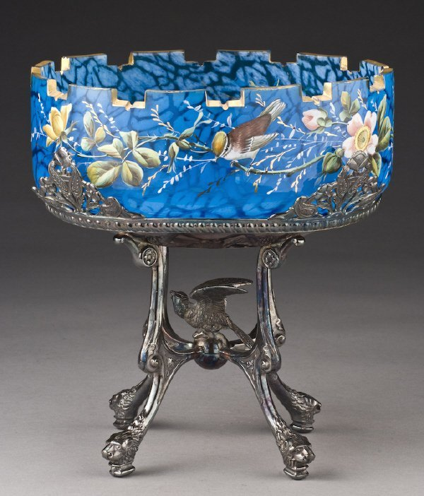 7: American Victorian silver and glass brides basket