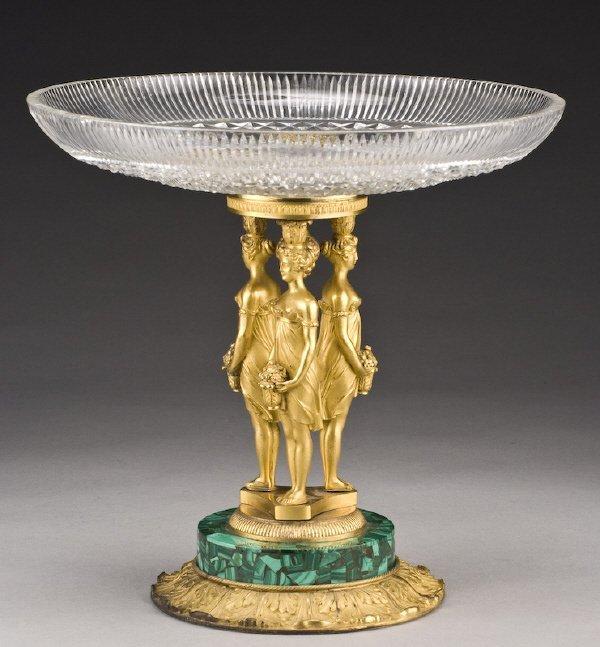 11: French gilt bronze, glass, and malachite tazza