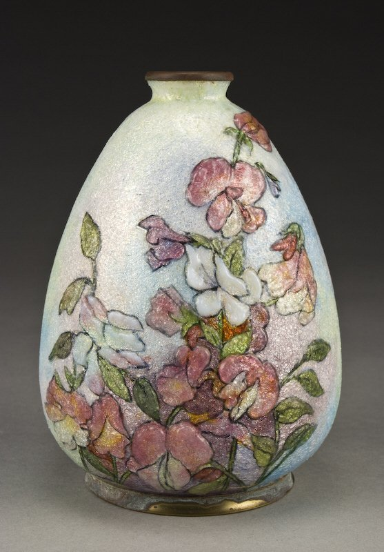 12: Camille Faure enameled vase, with sweet peas
