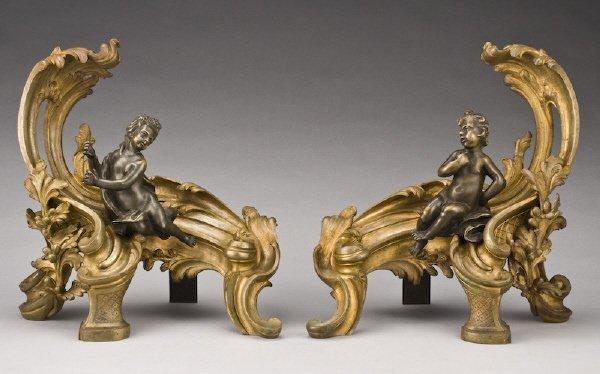 16: Pr. Signed Louis XV style gilt bronze chenets