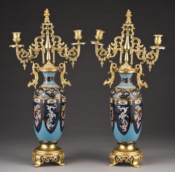 17: Pr. Cloisonne vases mounted as candelabra