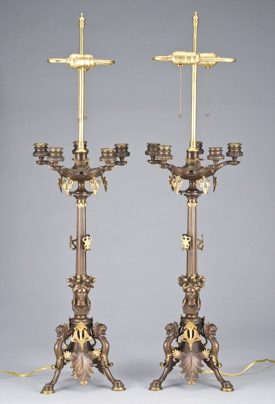 20: Pr. Empire-style parcel gilt bronze candelabra