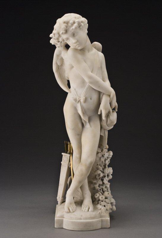 104: Italian Carrera marble sculpture signed,