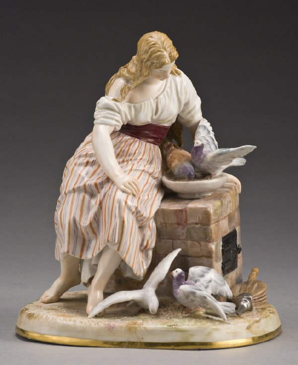 113: Meissen figure, Cinderella, modeled as a young