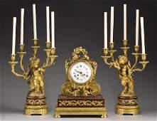 150 3 Pc French Louis XV style gilt bronze clock set