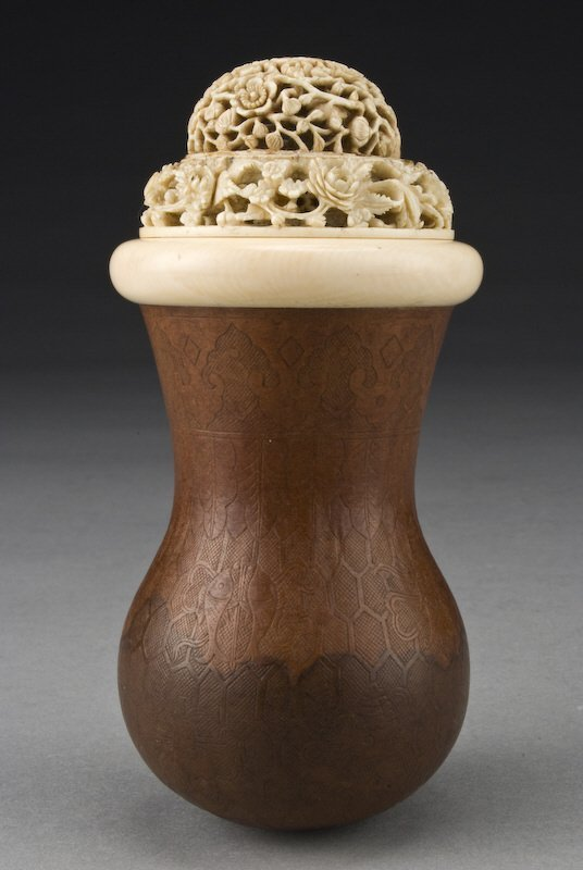 1: Chinese carved gourd cricket cage with ivory lid,
