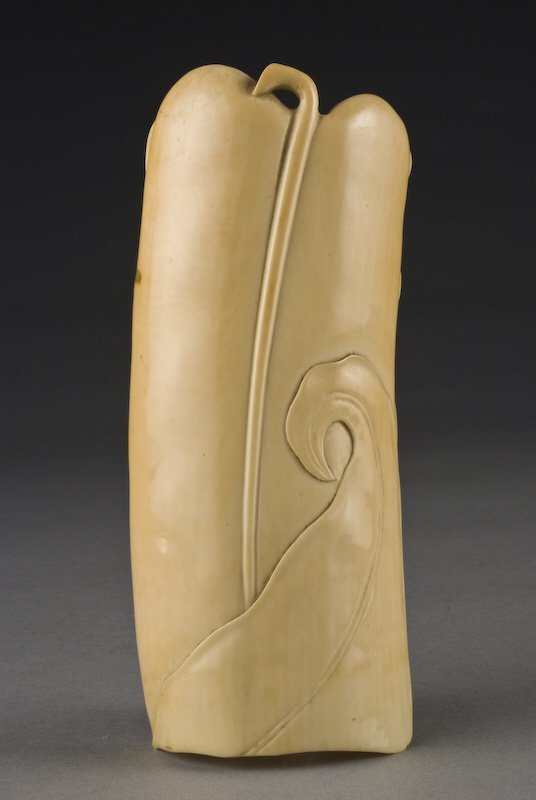 3: Chinese Qing carved ivory wrist rest depicting a