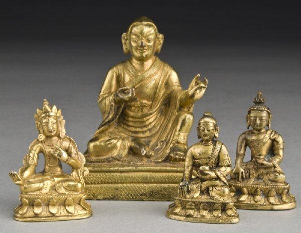 5: (4) Chinese - Tibetan gilt bronze figures