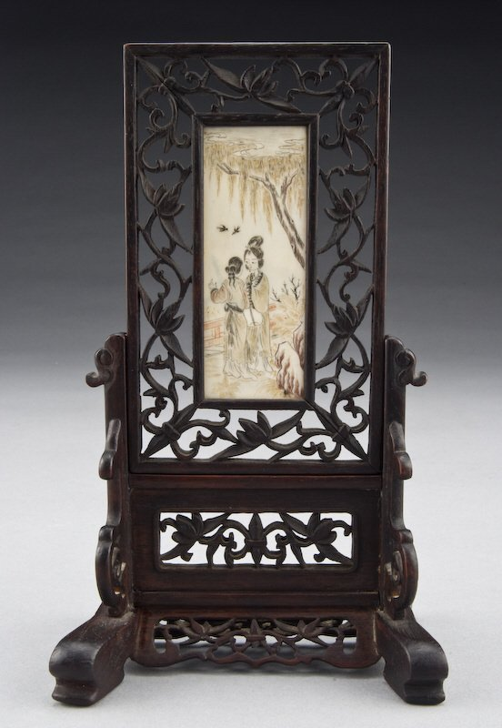 6: Chinese carved polychrome ivory table screen