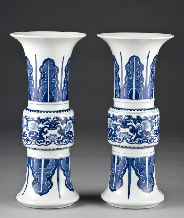 8: Pr. Chinese Qing blue and white porcelain Gu vases