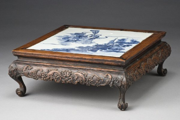 10: Chinese Qing carved table shaped stand, inlaid