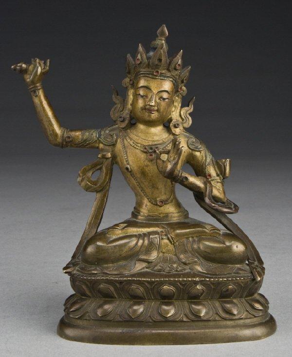 19: Chinese - Tibetan gilt bronze Amitayus Buddha,