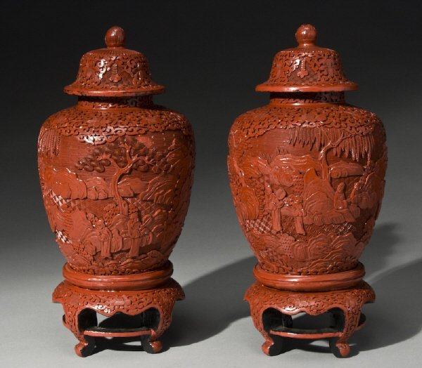 21: Pr. Chinese carved cinnabar lacquered ginger jars