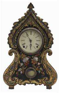 American Victorian iron front mantle clock,