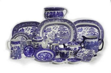 "(16) Pcs. Antique ""Blue Willow"" pattern china,"