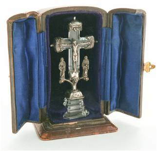 Miniature traveling crystal & silver crucifix