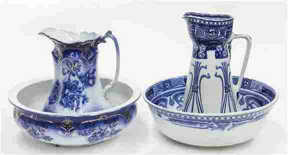 (2) Nice Victorian flow blue bowl and pitcher sets