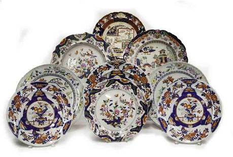 (9) Large antique Mason's chargers in Imari colors