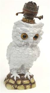Large owl shaped majolica oil lamp