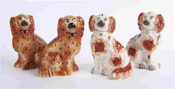 (2) Pr. Small antique Staffordshire dogs.