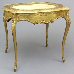 Victorian gilt, onyx top, tea table