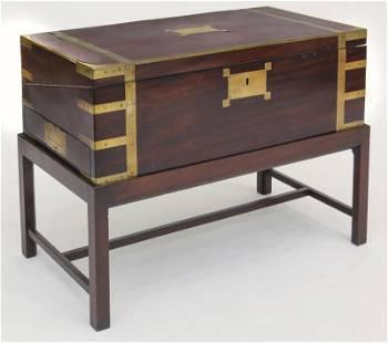 Victorian brass bound mahogany lap desk
