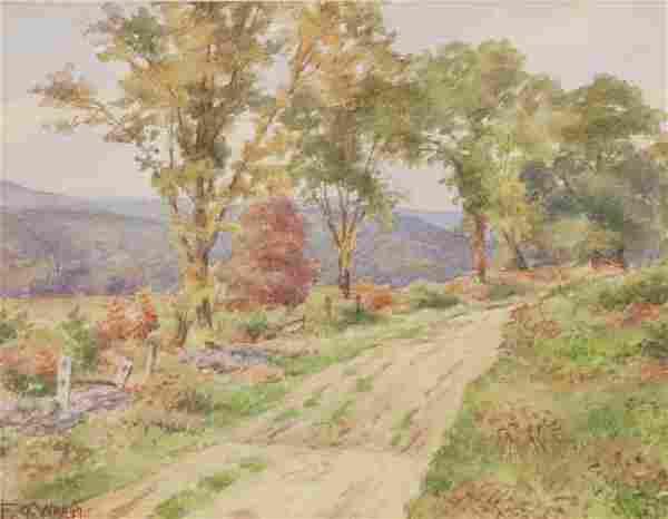 "Frederick Judd Waugh ""Autumn Landscape"" watercolor"