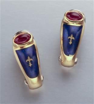 Pr. Faberge 18K gold & enamel earrings,