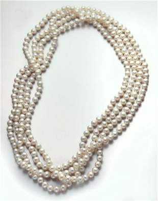 Opera length freshwater pearl necklace.
