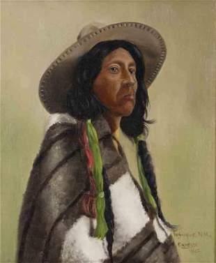 """Richard Ernesti """"Indian Portrait, Tesuque, NM"""