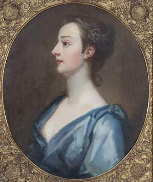 """19th C. Continental """"Portrait of a Lady"""" oil"""