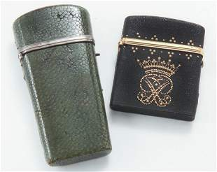 (2) Antique shagreen covered cases including,