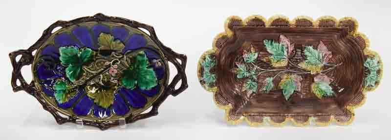 (2) Victorian majolica bread trays.
